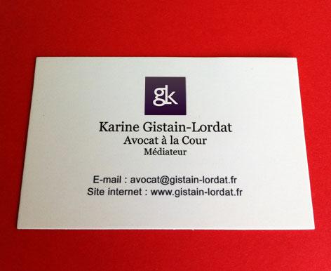 Monogramme avocat imprimé sur carte de visite