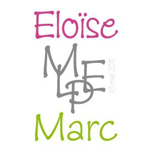 Monogramme - Initiales d'un couple pour un mariage
