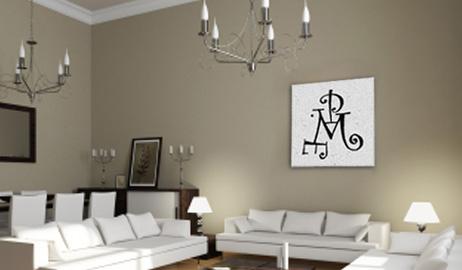 Monogramme salon imprimé sur tableau avec 4 initiales