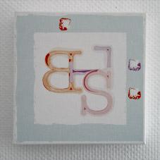Monogramme initiales imprimées sur un tableau 40x40 cm